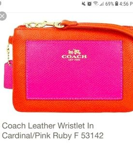 New Coach Cardinal Red/Pink Ruby Leather Wristlet